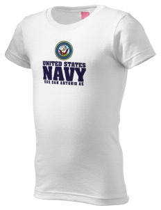 USS San Antonio  Girl's Fine Jersey Longer Length T-Shirt