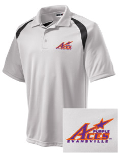 University of Evansville Purple Aces Embroidered Men's Dry Zone Colorblock Raglan Polo