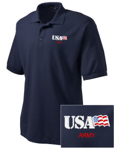 California Army National Guard Embroidered Men's Silk Touch Polo