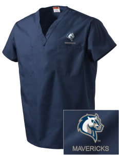 Mercy College Mavericks Embroidered V-Neck Scrub Top