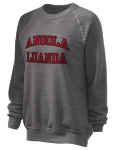 Angola Unisex Alternative Eco-Fleece Raglan Sweatshirt with Distressed Applique