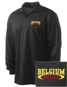 Belgium Embroidered Men's Long Sleeve Micropique Sport-Wick Sport Shirt