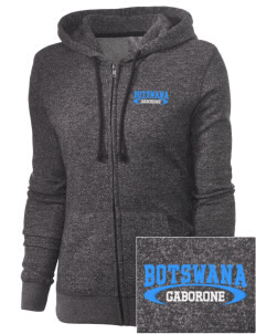 Botswana Embroidered Women's Marled Full-Zip Hooded Sweatshirt