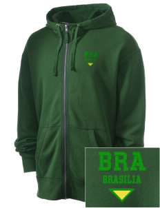 Brazil Embroidered Men's Full Zip Hooded Sweatshirt