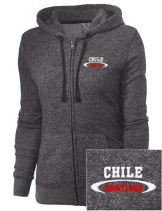 Chile Embroidered Women's Marled Full-Zip Hooded Sweatshirt