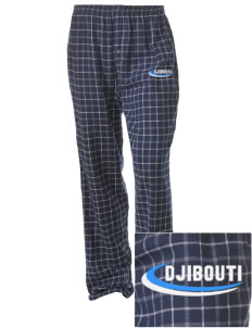 Djibouti Embroidered Unisex Button-Fly Collegiate Flannel Pant