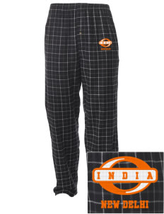 India Embroidered Men's Button-Fly Collegiate Flannel Pant