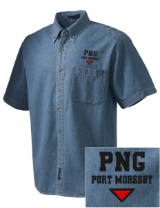 Papua New Guinea  Embroidered Men's Denim Short Sleeve