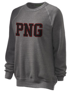 Papua New Guinea Unisex Alternative Eco-Fleece Raglan Sweatshirt with Distressed Applique