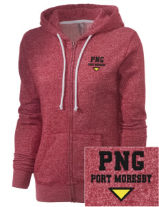 Papua New Guinea Embroidered Women's Marled Full-Zip Hooded Sweatshirt