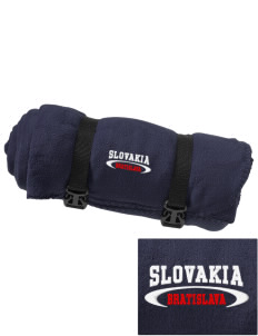 Slovakia Embroidered Fleece Blanket with Strap