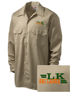 Sri Lanka Embroidered Dickies Men's Long-Sleeve Workshirt