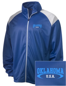 Oklahoma Embroidered Men's Tricot Track Jacket