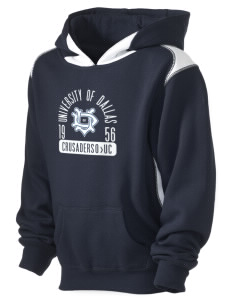 University of Dallas Crusaders Kid's Pullover Hooded Sweatshirt with Contrast Color