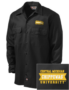 Central Michigan University Chippewas Embroidered Dickies Men's Long-Sleeve Workshirt