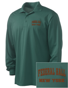 Federal Hall National Memorial Embroidered Men's Long Sleeve Micropique Sport-Wick Sport Shirt