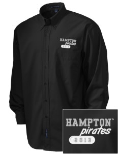 Hampton University Pirates  Embroidered Men's Easy Care, Soil Resistant Shirt