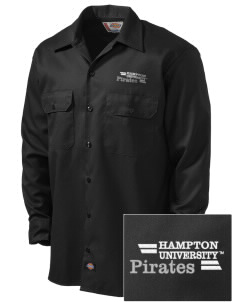 Hampton University Pirates Embroidered Dickies Men's Long-Sleeve Workshirt