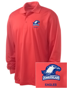 American University Eagles Embroidered Men's Long Sleeve Micropique Sport-Wick Sport Shirt