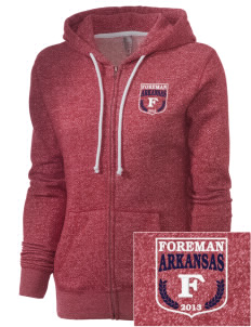Foreman Embroidered Women's Marled Full-Zip Hooded Sweatshirt