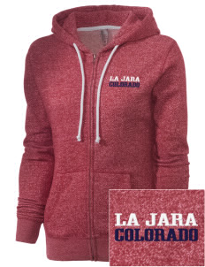 La Jara Embroidered Women's Marled Full-Zip Hooded Sweatshirt