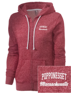 Popponesset Embroidered Women's Marled Full-Zip Hooded Sweatshirt