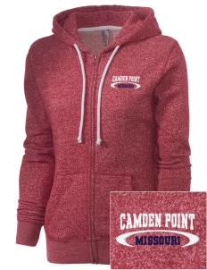Camden Point Embroidered Women's Marled Full-Zip Hooded Sweatshirt