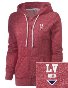 Lincoln Village Embroidered Women's Marled Full-Zip Hooded Sweatshirt