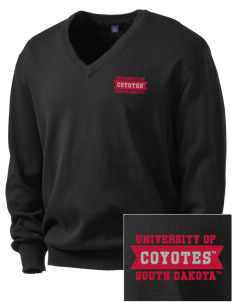 University of South Dakota Coyotes Embroidered Men's V-Neck Sweater