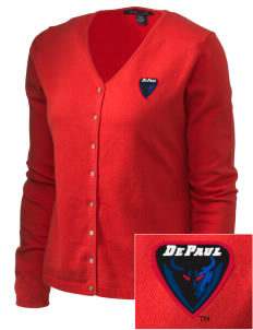 DePaul University Blue Demons Embroidered Women's Stretch Cardigan Sweater