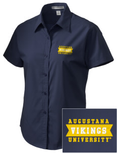 Augustana College Vikings Embroidered Women's Short Sleeve Easy Care, Soil Resistant Shirt