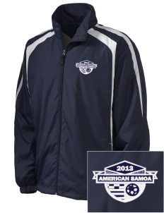 American Samoa Soccer Embroidered Men's Colorblock Raglan Jacket