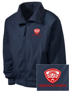 American Samoa Soccer Embroidered Men's Fleece-Lined Jacket