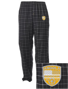 Angola Soccer Embroidered Men's Button-Fly Collegiate Flannel Pant