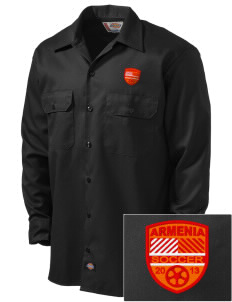 Armenia Soccer Embroidered Dickies Men's Long-Sleeve Workshirt