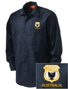 Australia Soccer Embroidered Men's Industrial Work Shirt - Regular