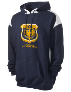 Australia Soccer Men's Pullover Hooded Sweatshirt with Contrast Color