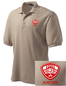 Austria Soccer Embroidered Men's Silk Touch Polo