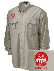 Austria Soccer Embroidered Men's Explorer Shirt with Pockets