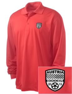 Austria Soccer Embroidered Men's Long Sleeve Micropique Sport-Wick Sport Shirt