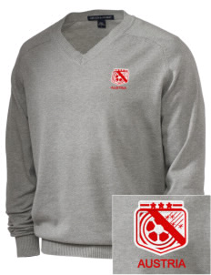 Austria Soccer Embroidered Men's V-Neck Sweater