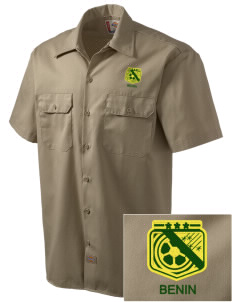 Benin Soccer Embroidered Dickies Men's Short-Sleeve Workshirt