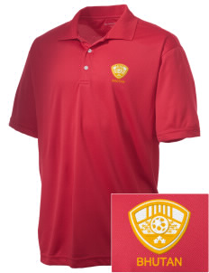 Bhutan Soccer Embroidered Men's Double Mesh Polo