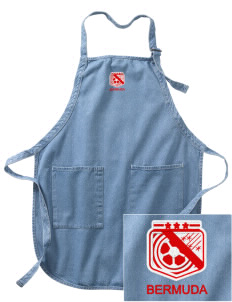 Bermuda Soccer Embroidered Full-Length Apron with Pockets