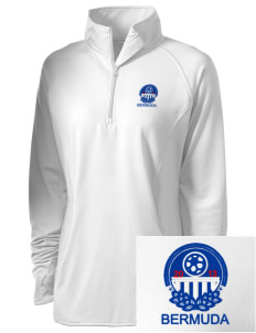 Bermuda Soccer Embroidered Ladies Stretched Half-Zip Pullover