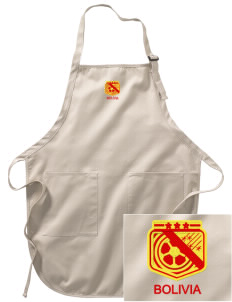 Bolivia Soccer Embroidered Full-Length Apron with Pockets