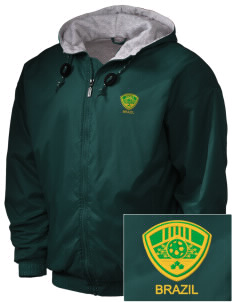 Brazil Soccer Embroidered Holloway Men's Hooded Jacket