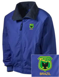 Brazil Soccer Embroidered Men's Fleece-Lined Jacket
