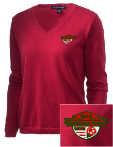 Burkina Faso Soccer Embroidered Women's V-Neck Sweater