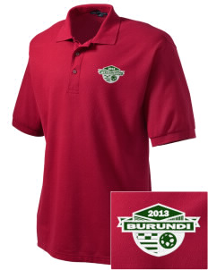 Burundi Soccer Embroidered Tall Men's Silk Touch Polo